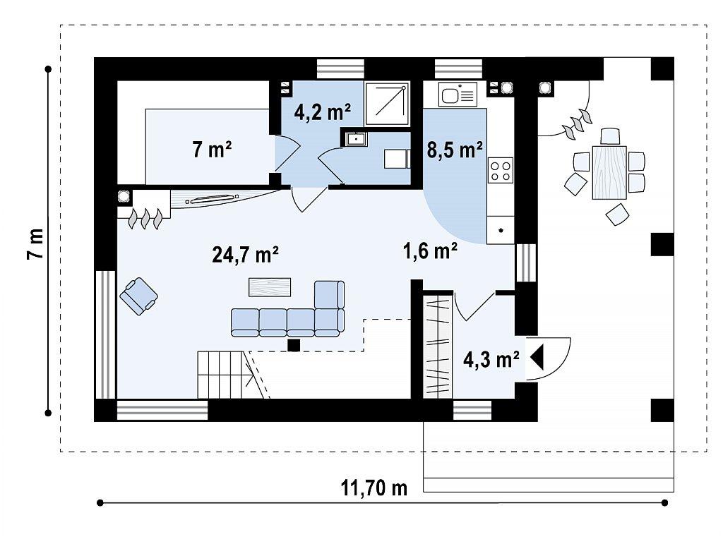 Проект бани 006N (план первого этажа)