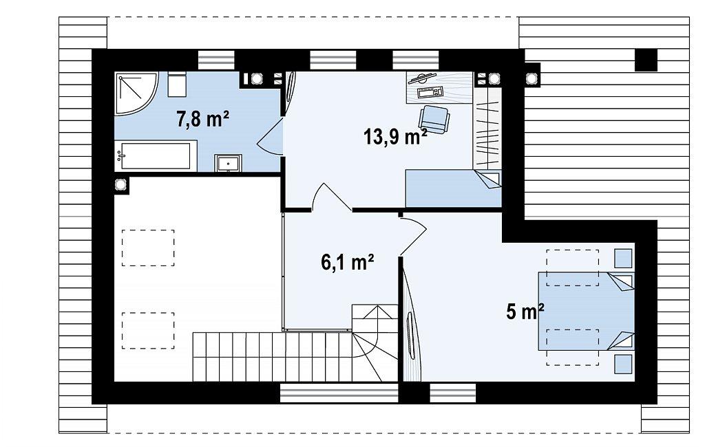 Проект бани 006N (план второго этажа)