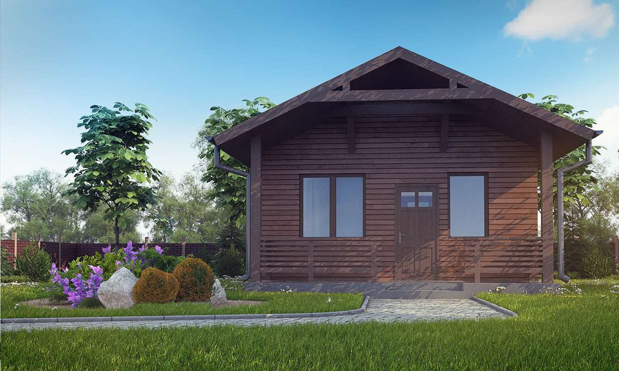 Проект бани 007N (фото фасада 3)