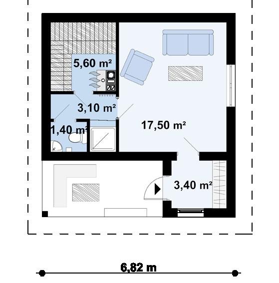 Проект бани 008N (план первого этажа)