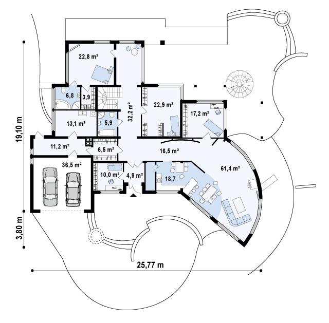 Проект дома 001N (план первого этажа)