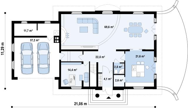 Проект дома 002N (план первого этажа)