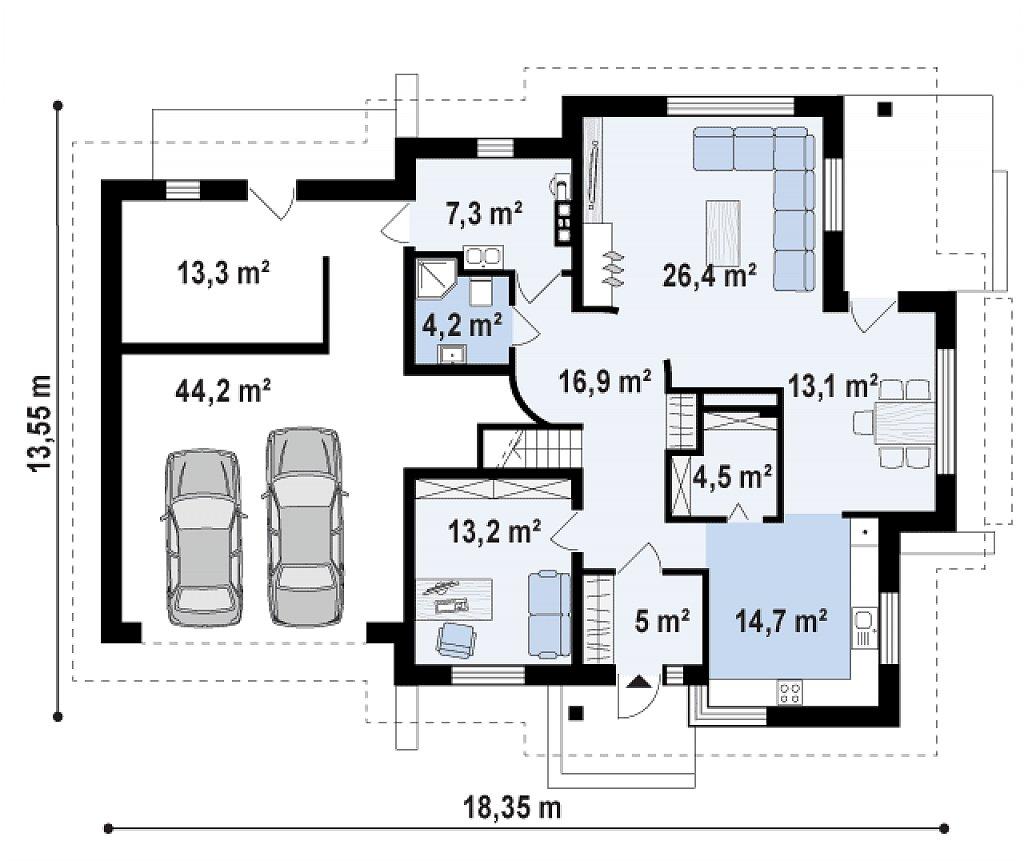 Проект дома 005N (план первого этажа)