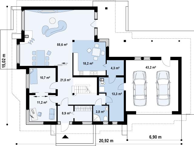 Проект дома 010N (план первого этажа)