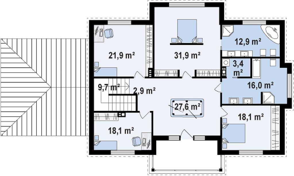 Проект дома 011N (план второго этажа)