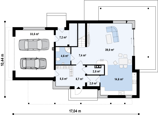 Проект дома 012N (план первого этажа)