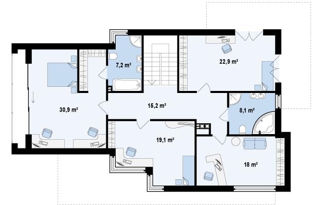 Проект дома 012N (план второго этажа)