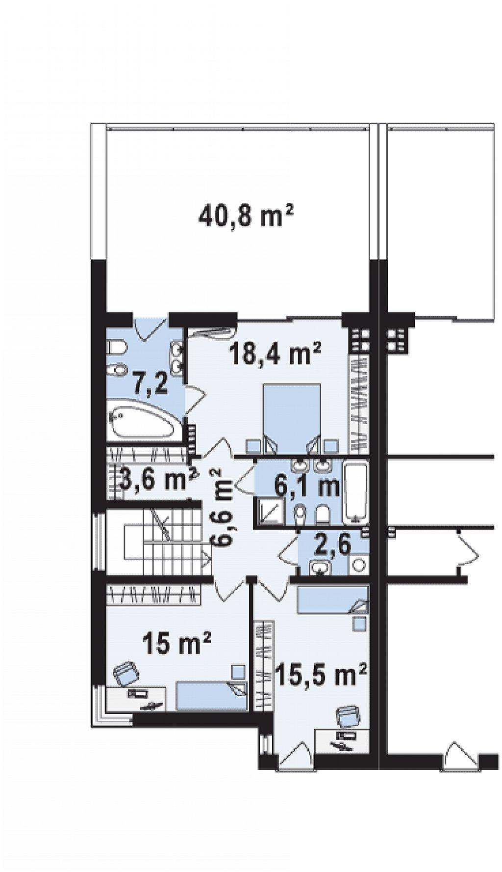 Проект дома 013N (план второго этажа)