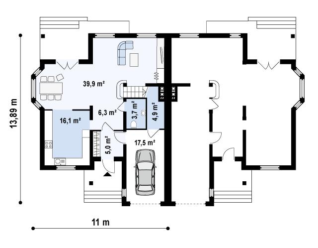 Проект дома 014N (план первого этажа)