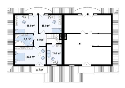 Проект дома 014N (план второго этажа)