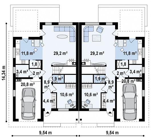 Проект дома 015N (план первого этажа)