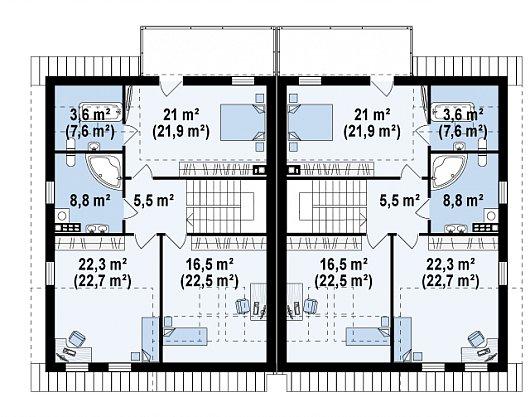 Проект дома 015N (план второго этажа)
