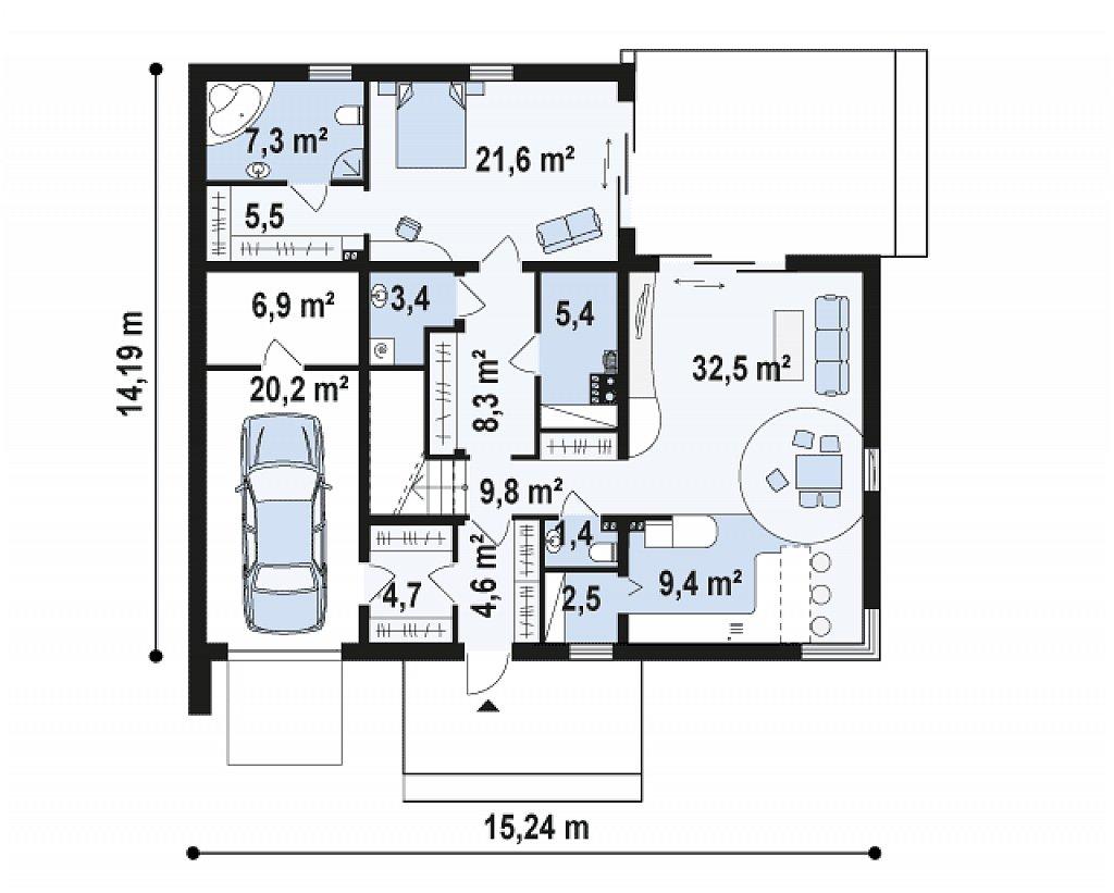 Проект дома 017N (план первого этажа)