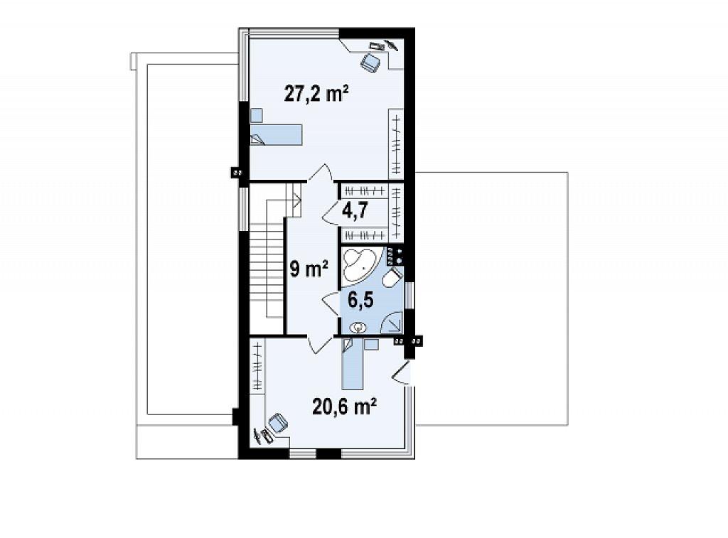 Проект дома 017N (план второго этажа)