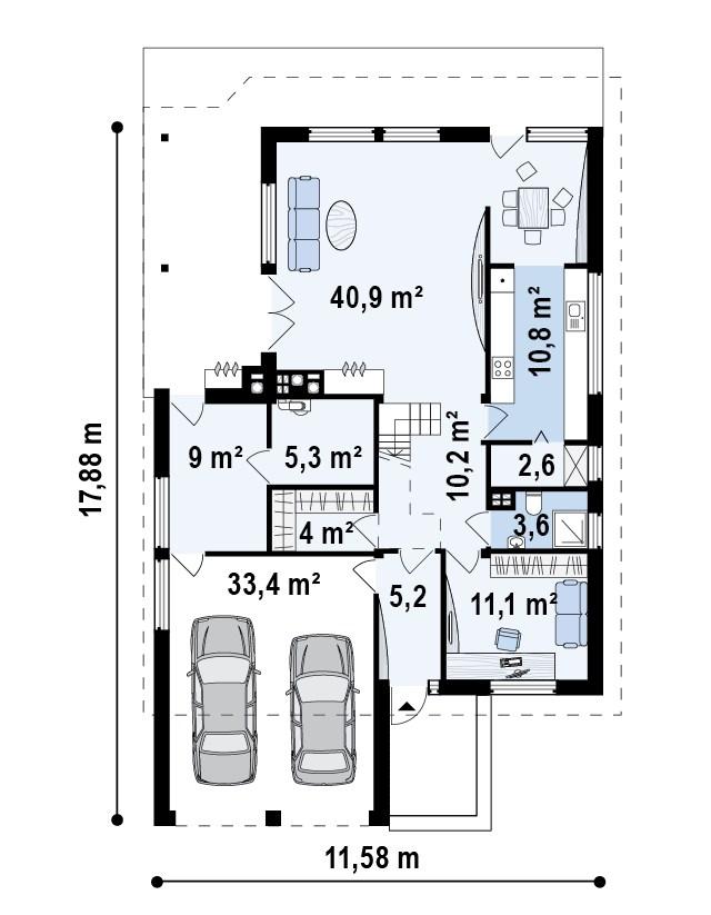 Проект дома 018N (план второго этажа)