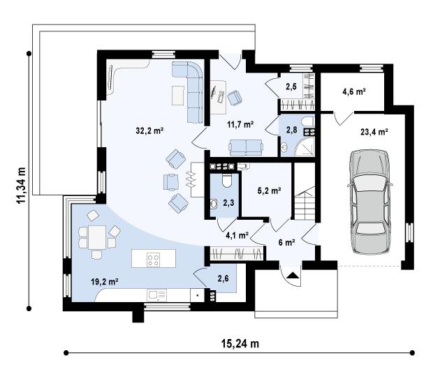 Проект дома 021N (план первого этажа)