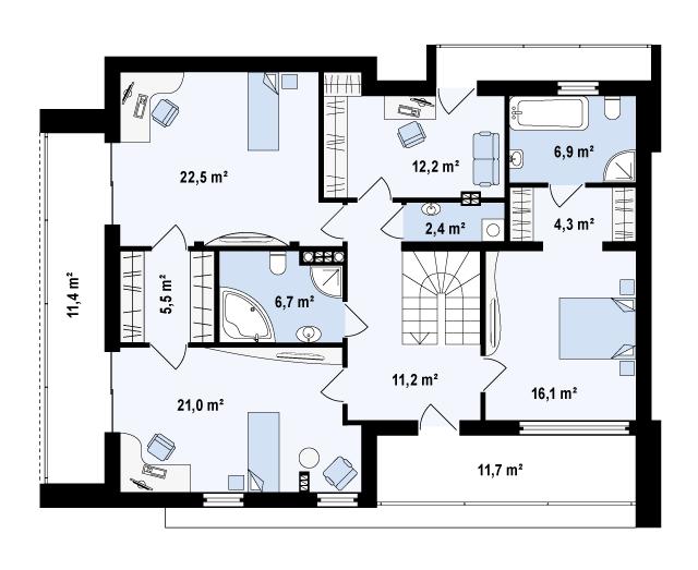 Проект дома 021N (план второго этажа)
