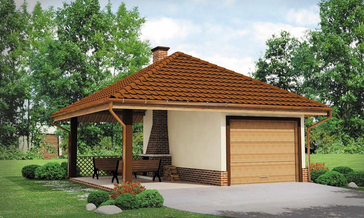 Проект гаража 028N (фото фасада)