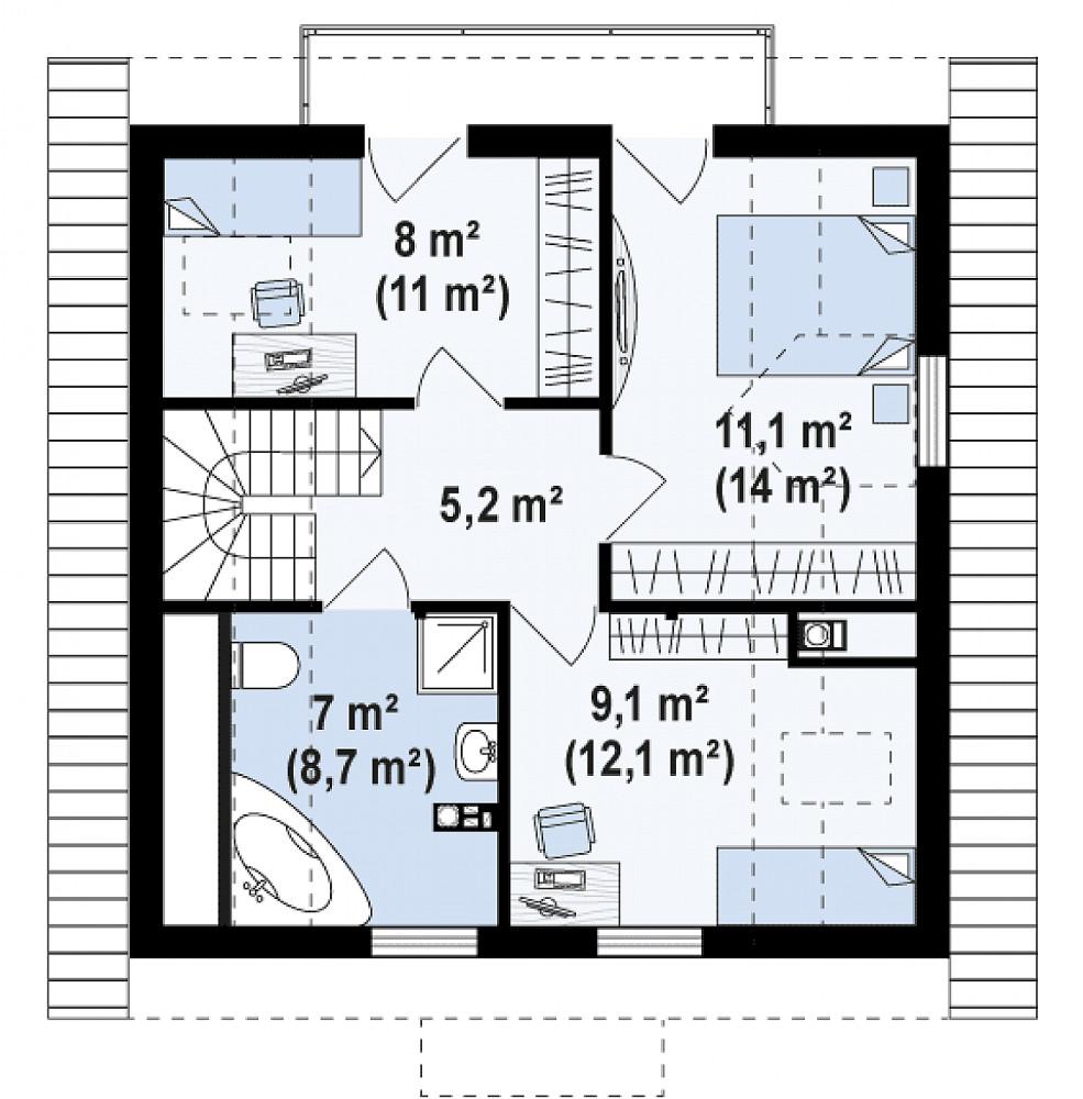 Проект дома 031N (план второго этажа)