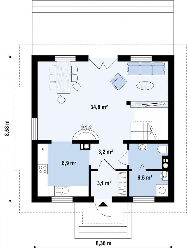 Проект дома 036N (план первого этажа)