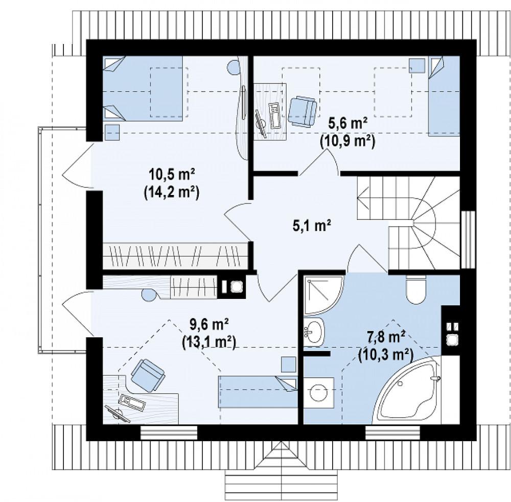 Проект дома 036N (план второго этажа)