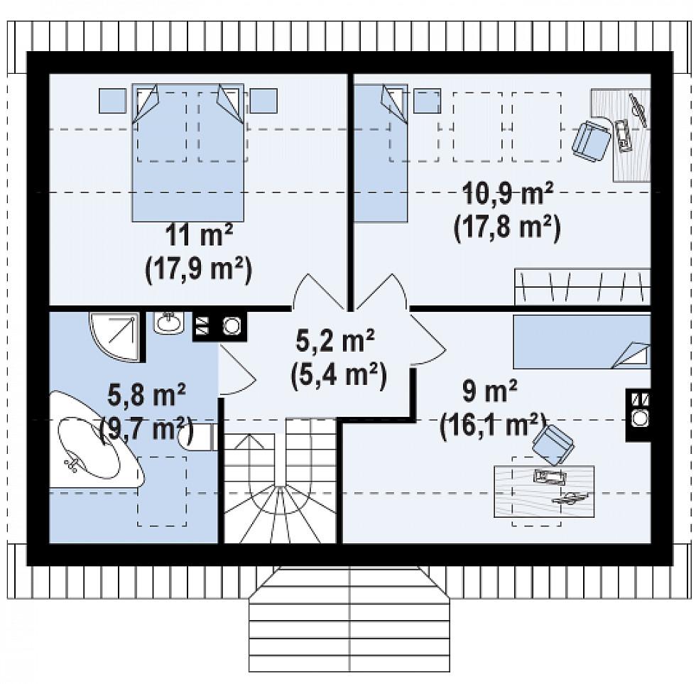 Проект дома 037N (план второго этажа)