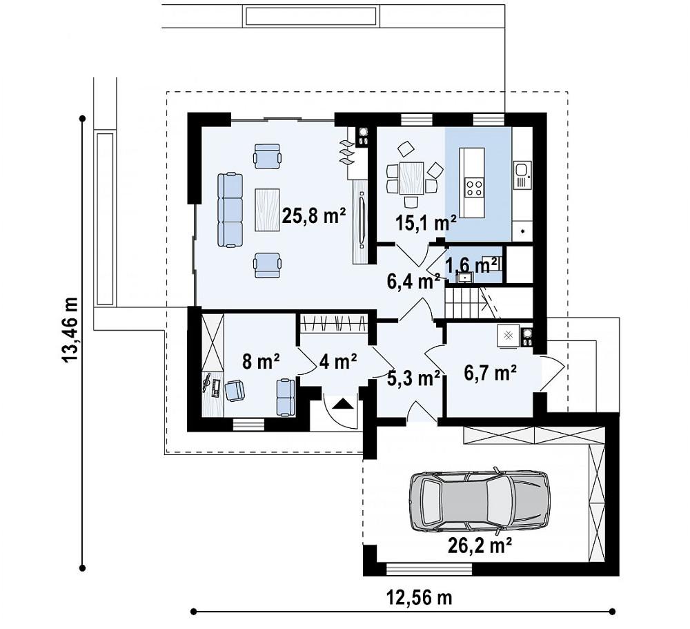 Проект дома 040N (план первого этажа)