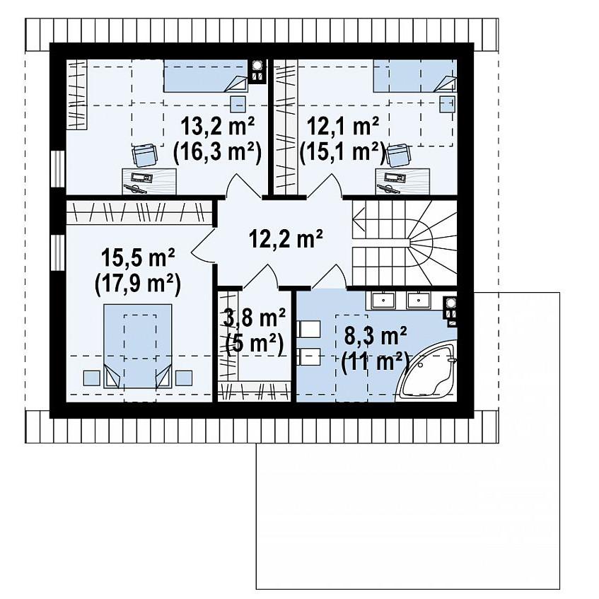 Проект дома 040N (план второго этажа)
