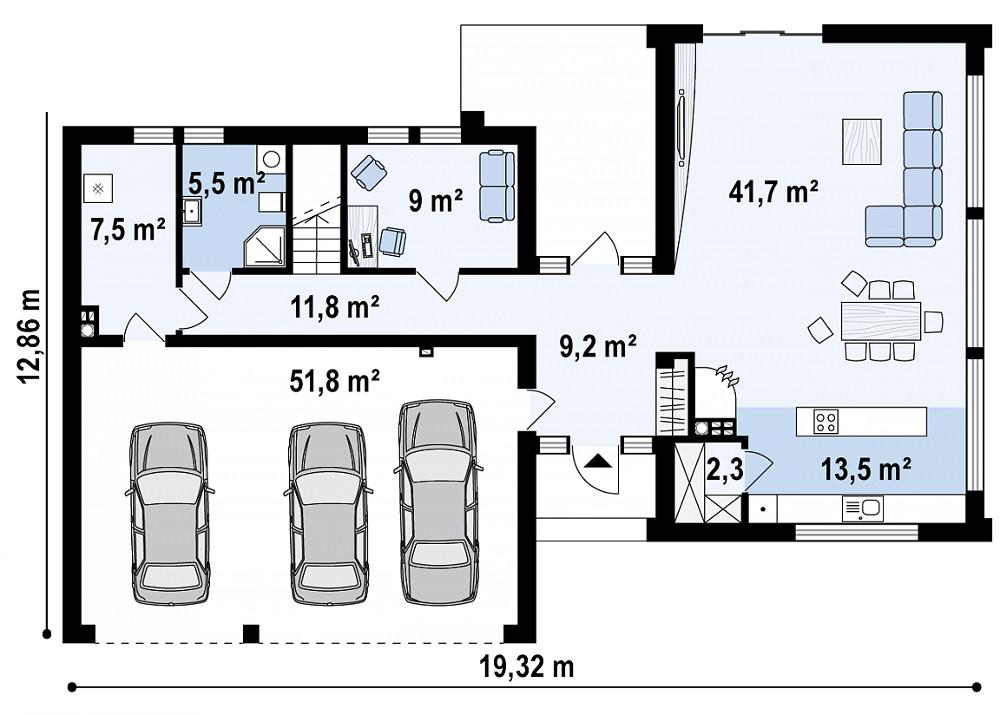 Проект дома 041N (план первого этажа)