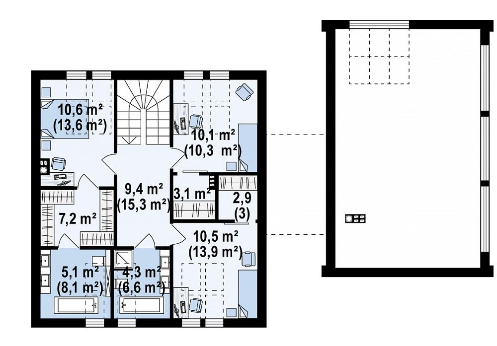 Проект дома 041N (план второго этажа)