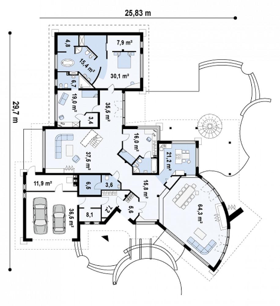 Проект дома 046N (план первого этажа)