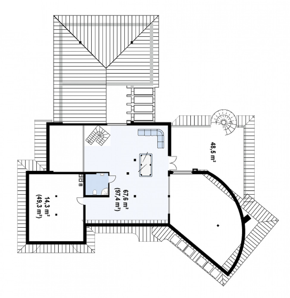 Проект дома 046N (план мансарды)