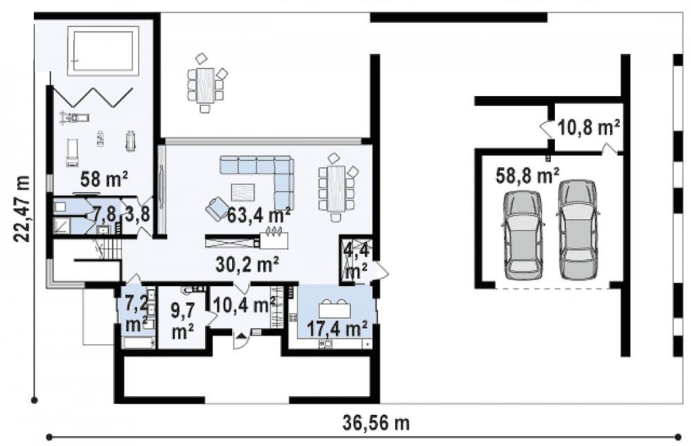 Проект дома 047N (план первого этажа)