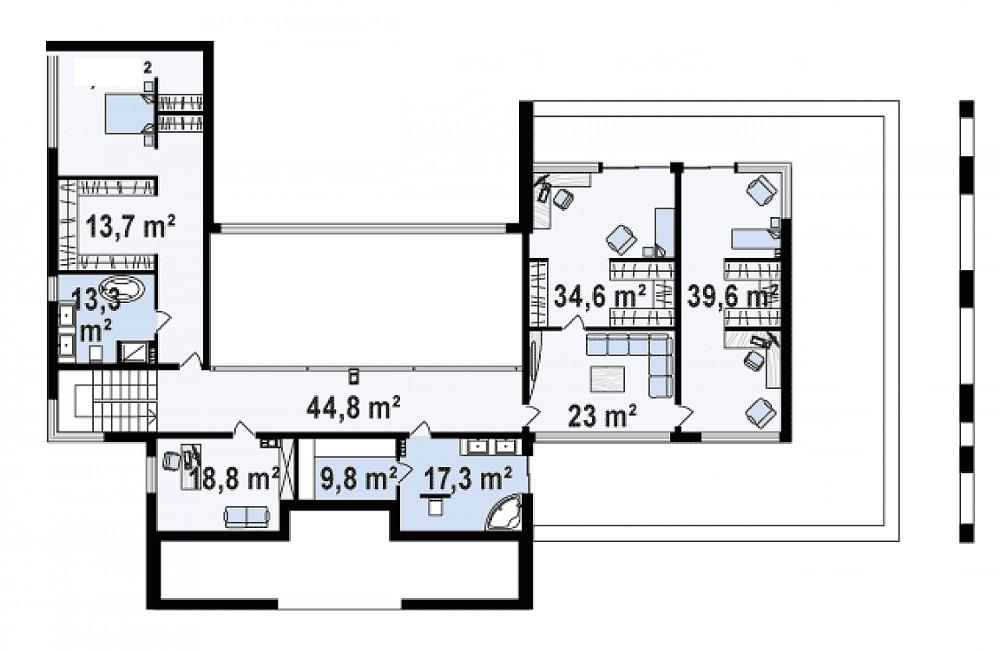 Проект дома 047N (план второго этажа)