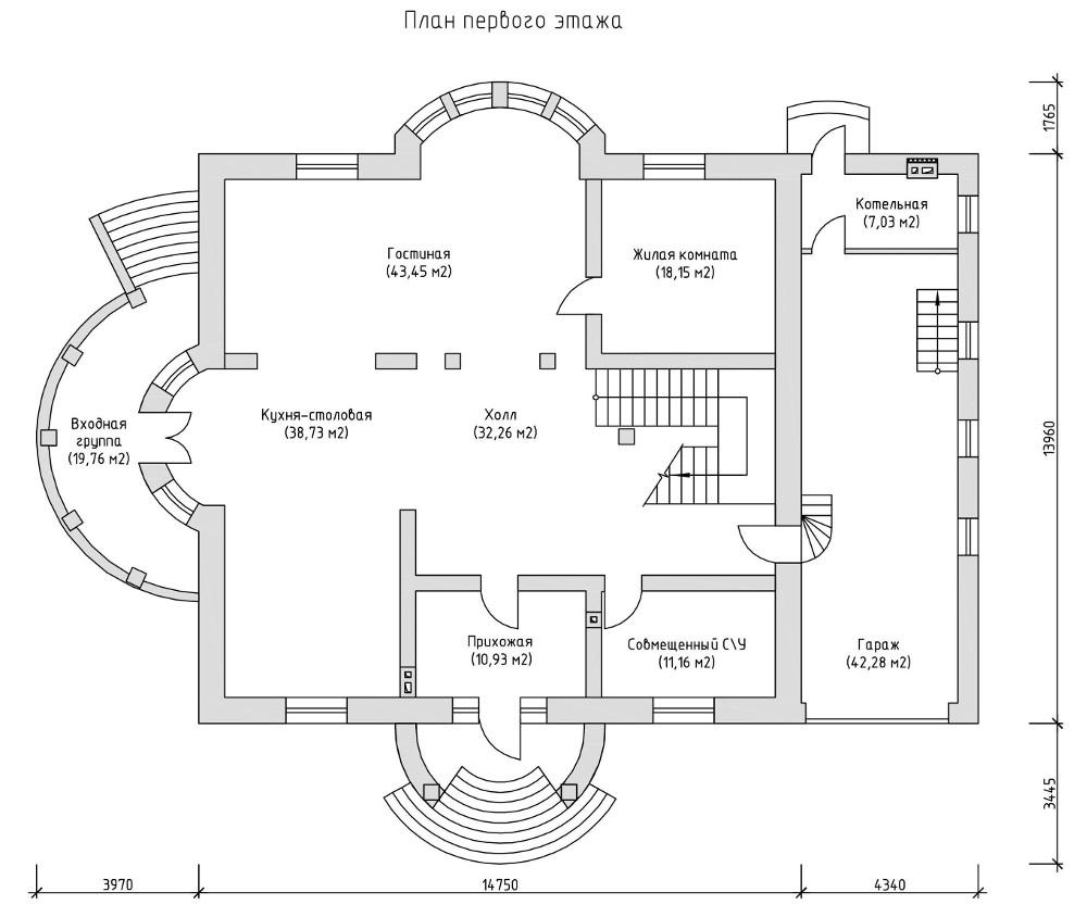 Проект дома 050N (план первого этажа)