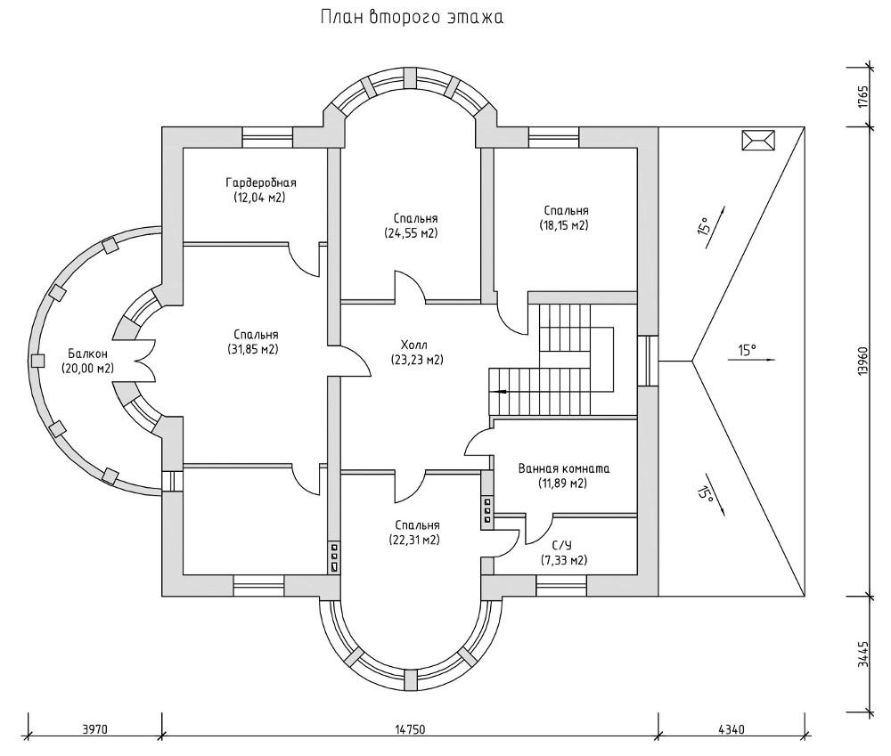 Проект дома 050N (план второго этажа)