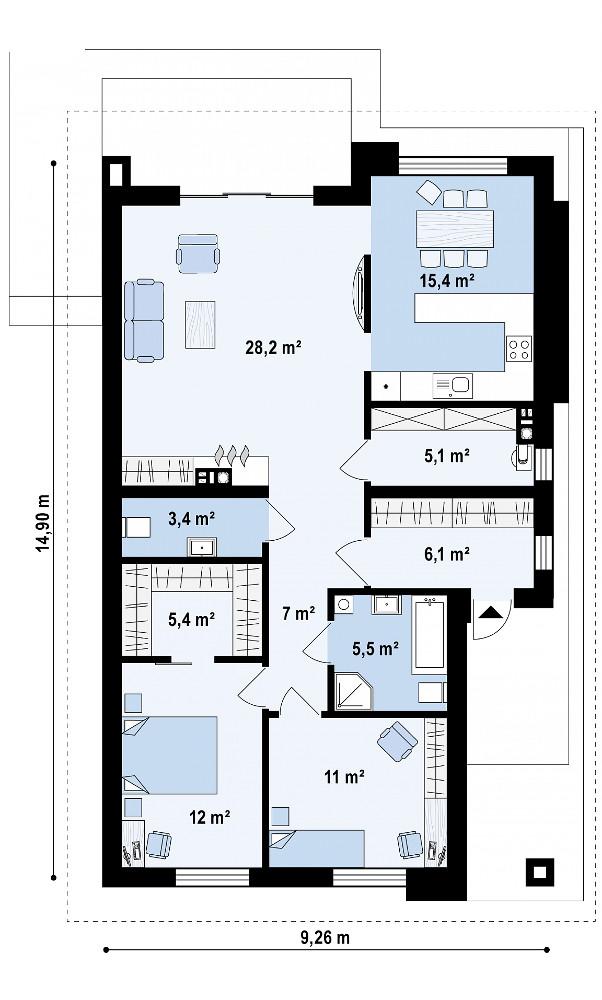 Проект бани 064N (план)