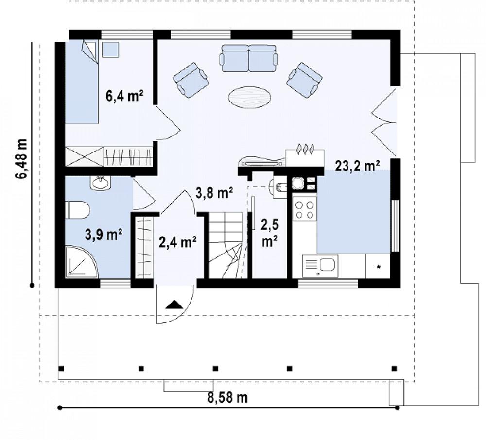 Проект дома 051N (план первого этажа)