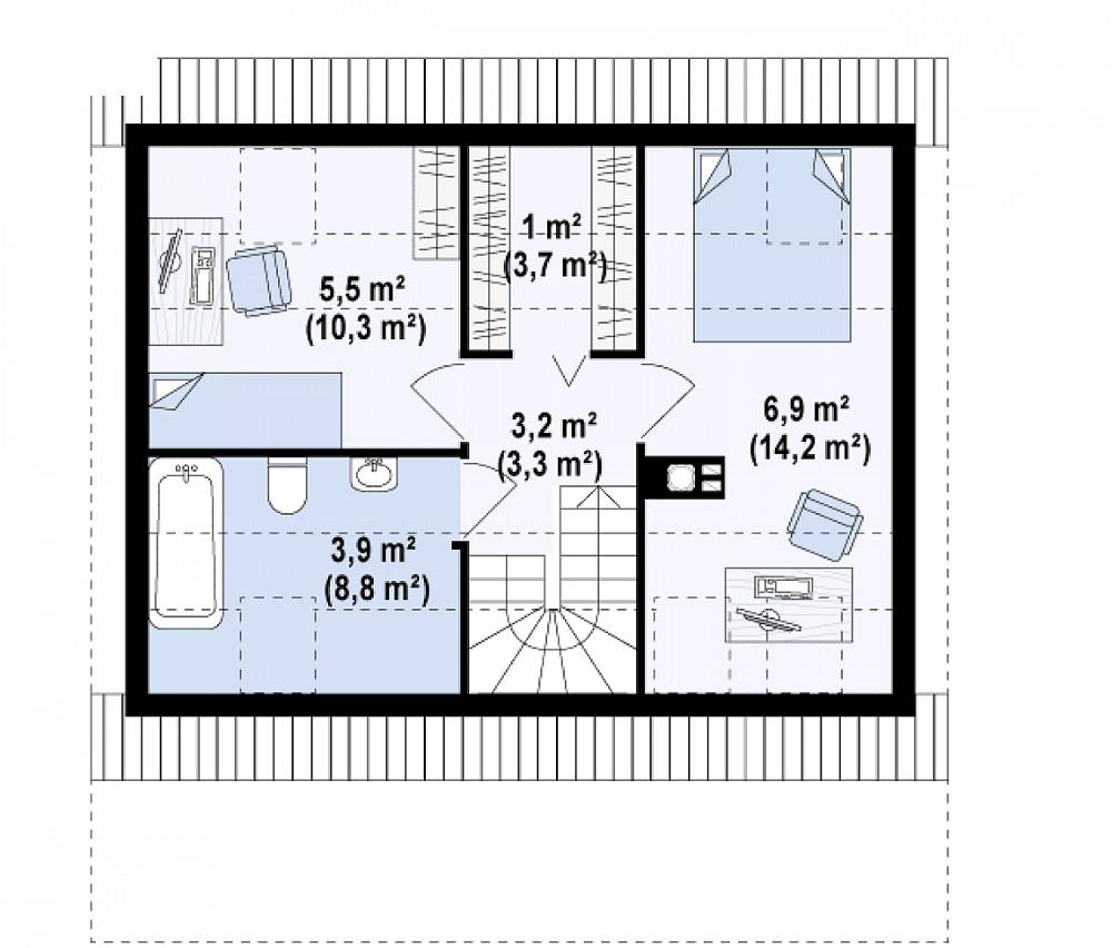 Проект дома 051N (план мансарды)