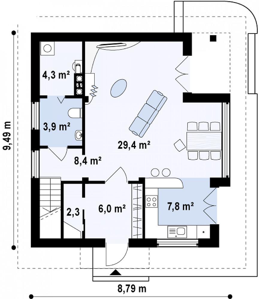 Проект дома 052N (план первого этажа)