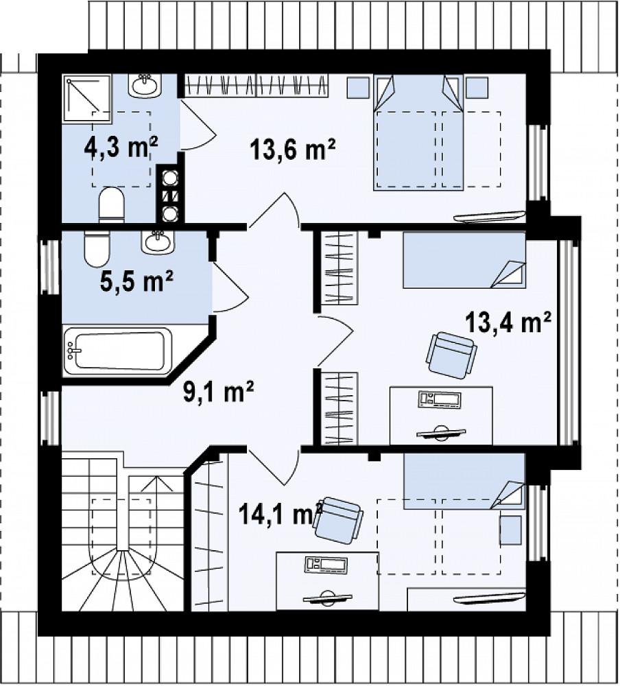 Проект дома 052N (план мансарды)