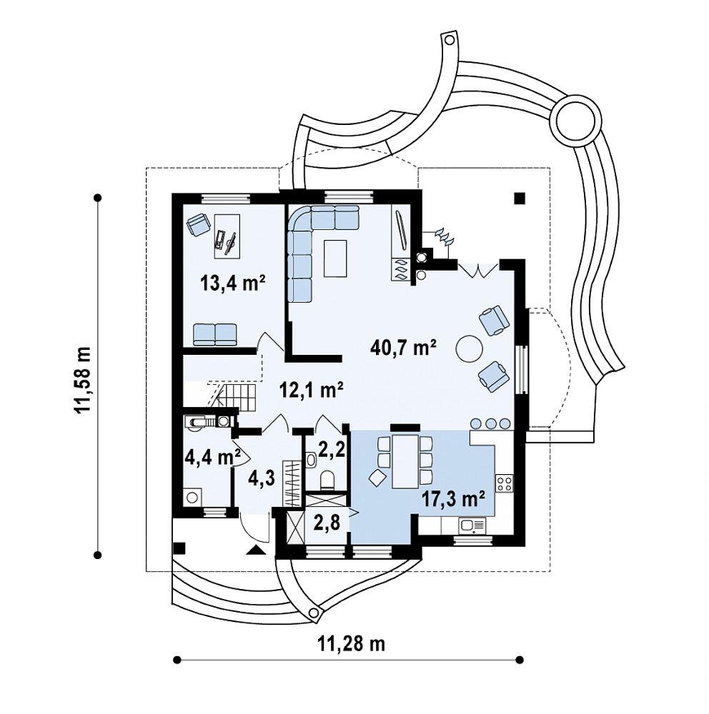 Проект дома 058N (план первого этажа)