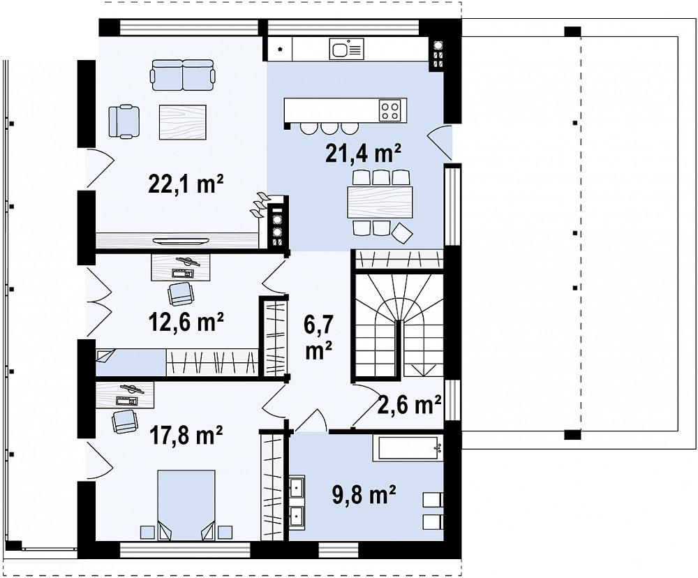 Проект дома 059N (план второго этажа)