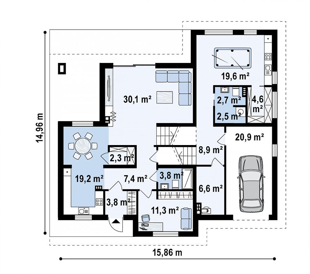 Проект дома 061N (план первого этажа)