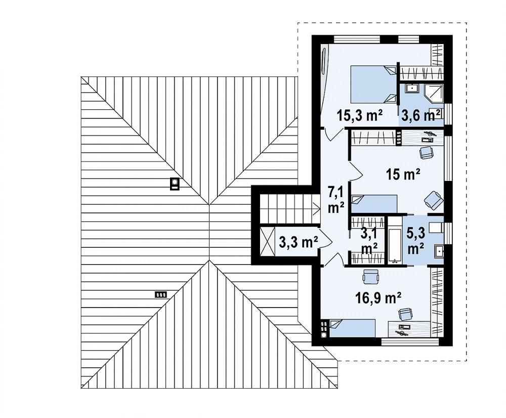Проект дома 061N (план мансарды)