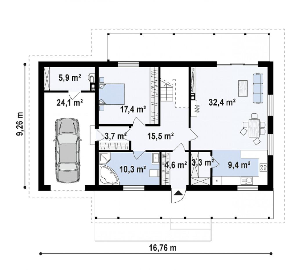 Проект дома 062N (план первого этажа)
