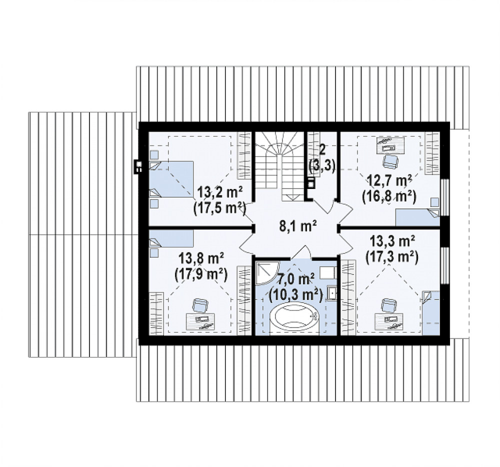 Проект дома 062N (план мансарды)