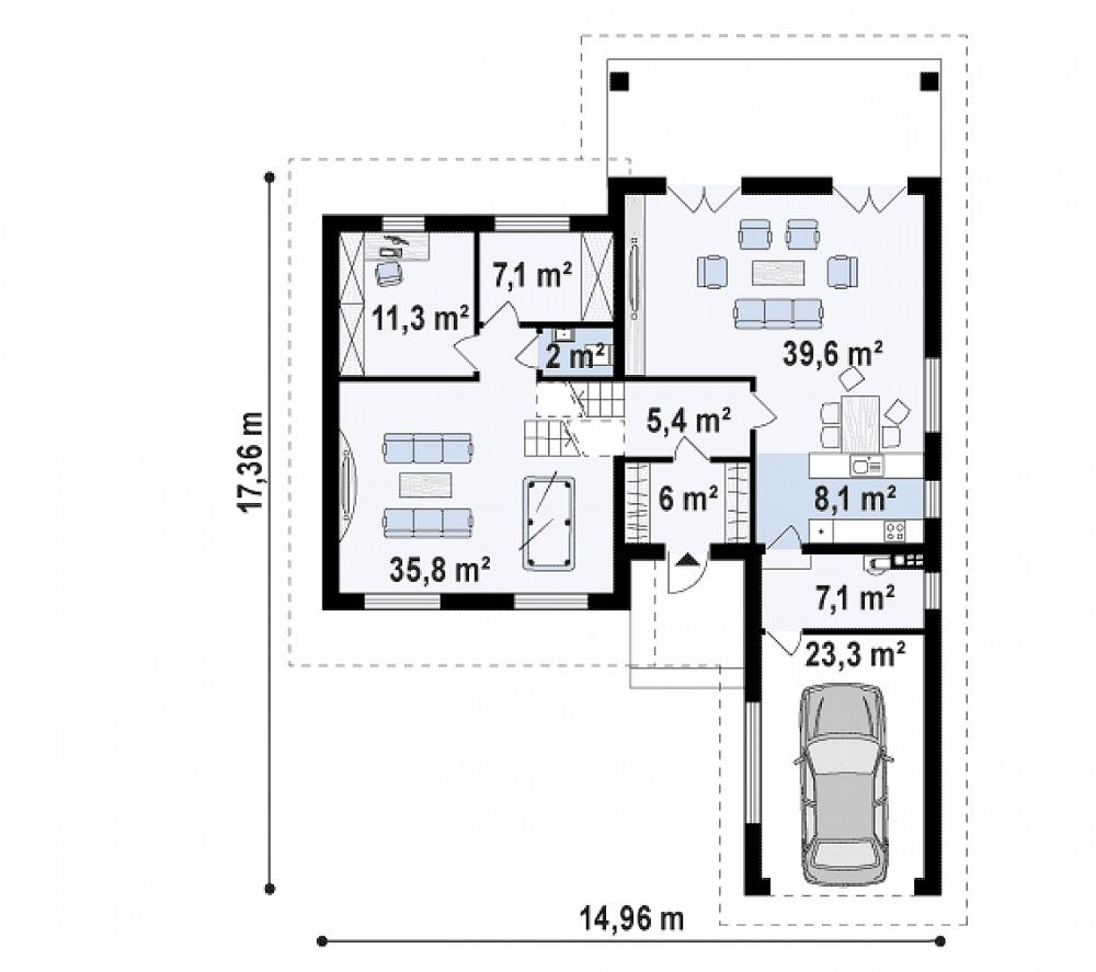Проект дома 063N (план первого этажа)