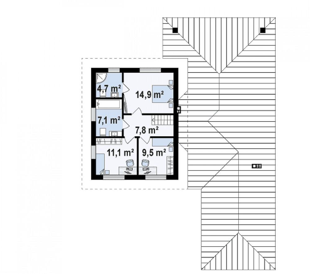 Проект дома 063N (план второго этажа)