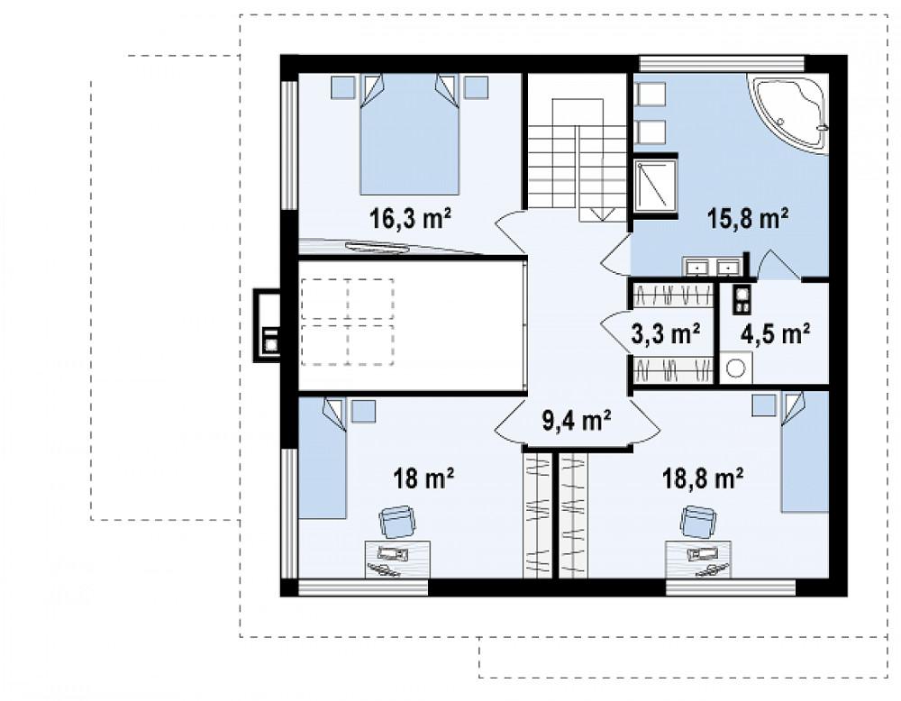 Проект дома 065N (план второго этажа)